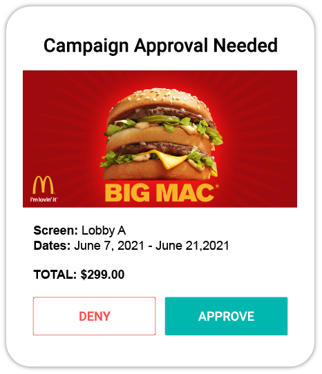 Improved campaign approval from your SKOOP Signage account